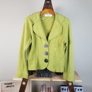 Anthropologie WILLOW Olive Sweater Knit Blazer